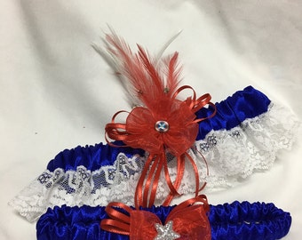Custom Bridal Blue silk American Hero Lace Classic Vintage inspired prom or wedding garter