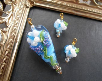 Monte Verdi Lampwork Beads - Handmade - Floral Focal - Habits of Birds Series c.2007