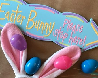 Easter Bunny Sign, Easter Bunny Stop Here Sign, Easter Decoration