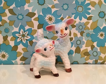 Pair of Vintage Kitsch China Lambs