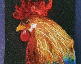 Rooster felt painting