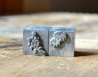 Two-Color Flower Letterpress Printers Block / Vintage Printing Supply / Floral Letterpress