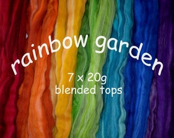 RAINBOW GARDEN - 7 x 20g- 140g - blended tops- Merino- mixed pack- rainbow