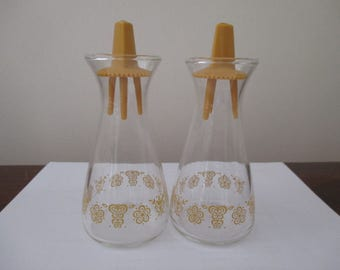 Pyrex Butterfly Gold Salt and Pepper Shakers Pair.