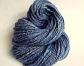 Denim blue handspun, hand dyed, merino and soybean yarn, knitting yarn / wool, thick blue wool