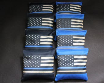BLUE LINE Flag Cornhole Bean Bags ACA Regulation Police Blue Lives Matter Corn Hole Bags Top Quality Custom Made