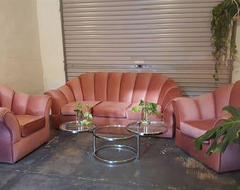 Vintage Pink Velvet Clamshell Lounge set ~