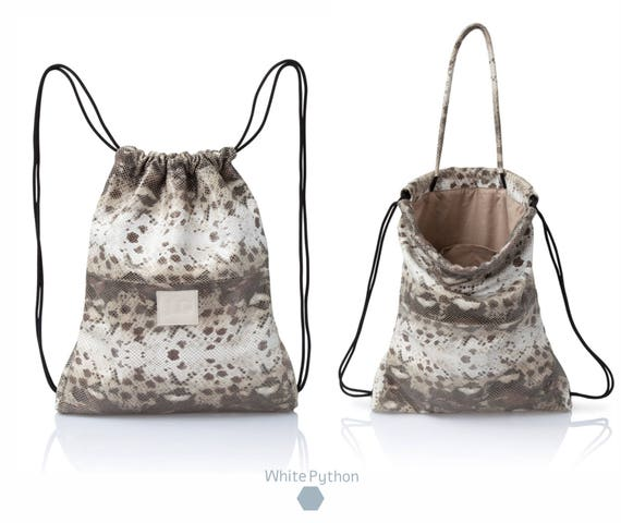Backpack Python leather backpack purse multi-way leather back