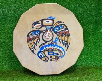 """15"""" Red Deer/Stag Rawhide Drum, Native American Style with Painted Thunderbird & Whale, Shaman / Pagan Drum"""