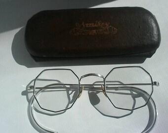 Glasses vintage antique 20s silver silver eyewears shape Octagon kind John Lennon.