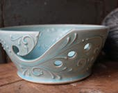 8 inch wide light blue Yarn Bowl, Tip Resistant, Crochet, Knitting, present, gift, Mothers Day, Christmas, IN STOCK, ready to ship