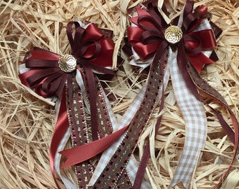 Chestnut Brown Tan Equestrian Horse Best of Show Dressage Hair Bows Double Set Pony Piggy Tails