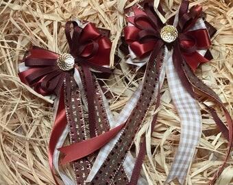 Chestnut Brown Tan Equestrian Horse Best of Show Dressage Hair Bows Double Set Pony Piggy Tails