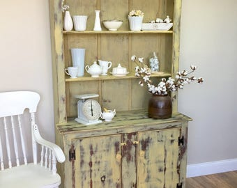 Farmhouse Hutch - Yellow Cabinet - Fixer Upper Furniture - Antique Kitchen Cupboard - Vintage China Cabinet - Country Cottage Furniture