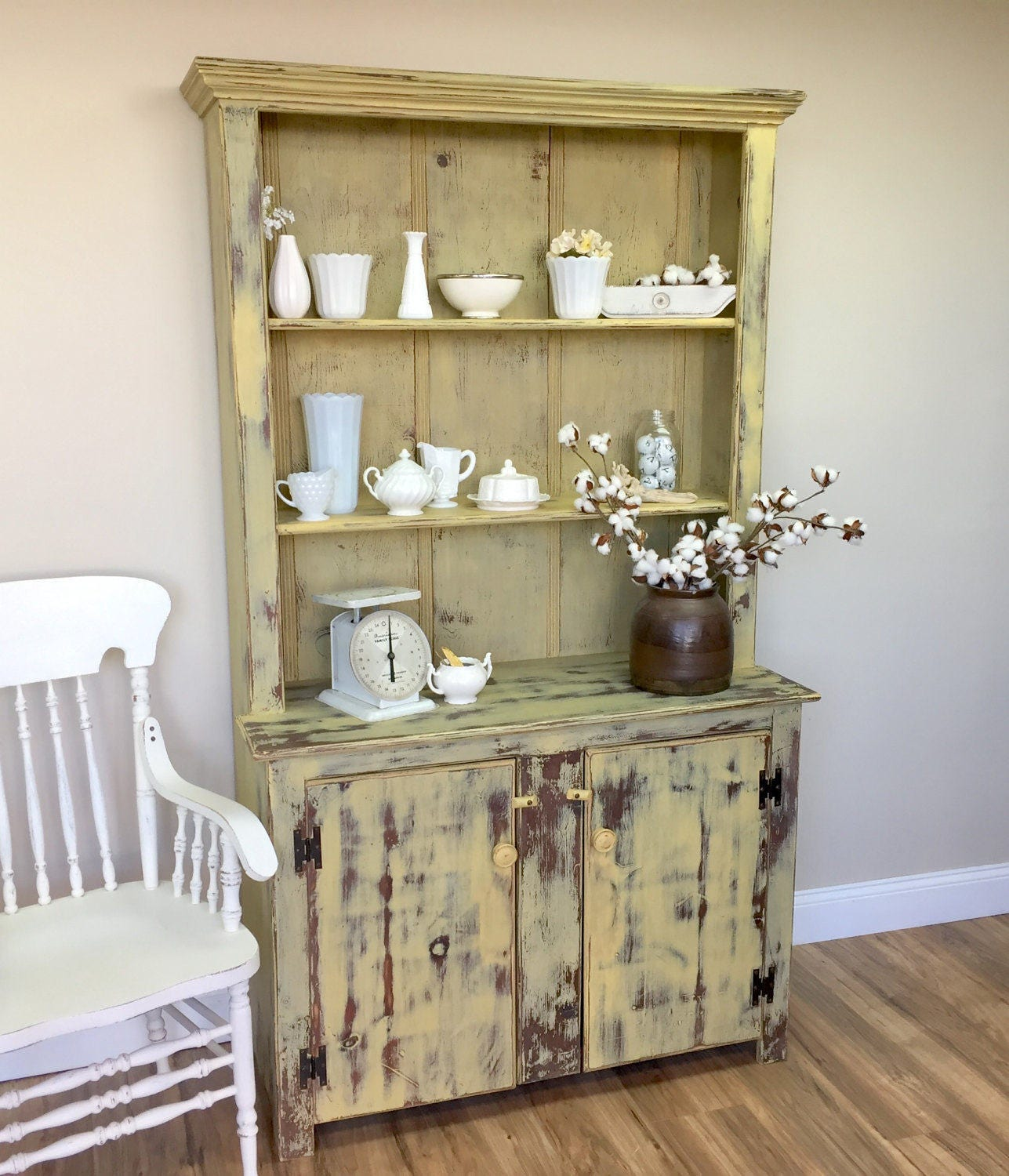 Farmhouse Hutch Fixer Upper Furniture Yellow Cabinet
