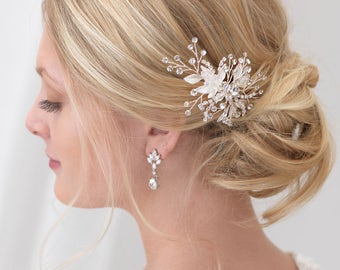 Crystal Wedding Hair Pin, Floral Bridal Hair Pin, Swarovski Crystal Hair Pin, Floral Hair Pin, Bridal Hair Accessory,Bride Hair Pin ~TP-2820