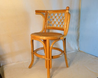 Vintage Blonde Bentwood Arm Chair Thonet Style Bamboo Chair With Cane Seat  Rattan Back Cafe Chair