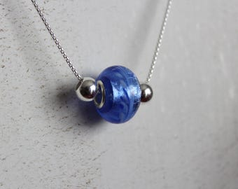 Sterling silver and blue Murano glass necklace