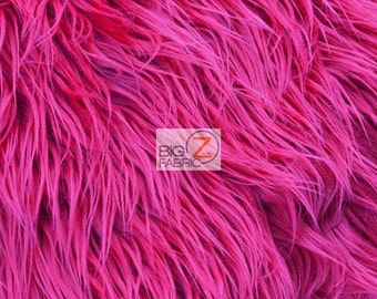 "Solid Mongolian Faux Fur Fabric - FUCHSIA - Sold By The Yard 60"" Width Costumes Accessories Clothing"