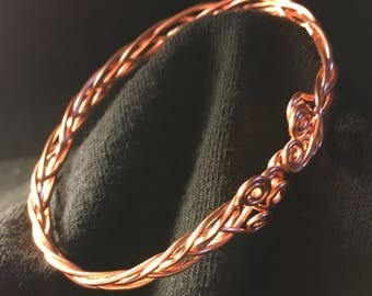 "Copper 5 wire Celtic Braided Bracelet with Swirl ends, adjustable  7 1/2"" as is, but can go larger or smaller, or request Custom length."