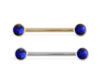 14K Gold Nipple Ring with Bezel Setting Sapphire Gems, 14 Ga