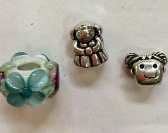 3 Pretty beads For European  or Pandora Style Bracelet
