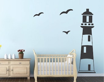 Lighthouse Wall Decal, Kids Room Lighthouse Wall Vinyl, Boys Lighthouse Wall Decal Vinyl, Removable Ocean Scene Wall Decal Seaside, b21