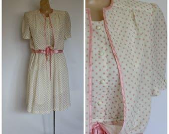 1980s Easter Dress / Modest Spring Dress / Vintage Modest Dress / Secretaries Dress / Pink Polka Dot Dress / Vintage Pink Modest Dress S/M
