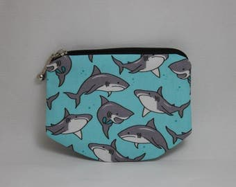 Shark Zipper pouch, coin purse made to order