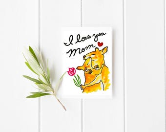 I love you mom, kangaroo card, mother's day card, kangaroo greeting card, kangaroo illustration, animal blank card, mother's day