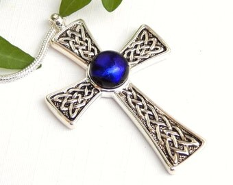 Celtic Cross Pendant - Blue Dichroic Glass Necklace - Fused Glass Jewelry