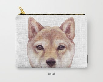 Pouch original Dog illustration design,  Shibainu, print on both sides, carry pouch