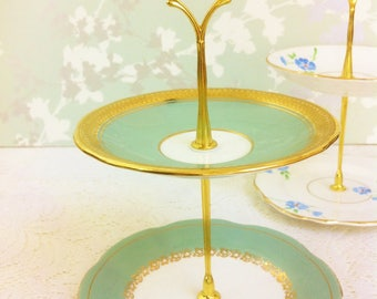 2 Tier Mini Cake Stand, Vintage Moss Green