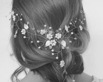 Hair Vine, Silver Bridal Hair Jewelry, Wedding/Prom Headpiece, Silver Hair Vine