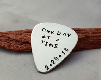 one day at a time sobriety gift guitar pick addiction recovery sobriety date for men sobriety milestone custom date sobriety date gift