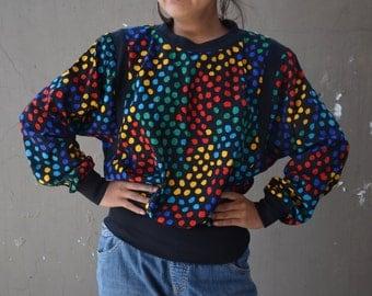 Vintage 80's blouse bat wing top rainbow polka dots retro slouchy punk glam oversized