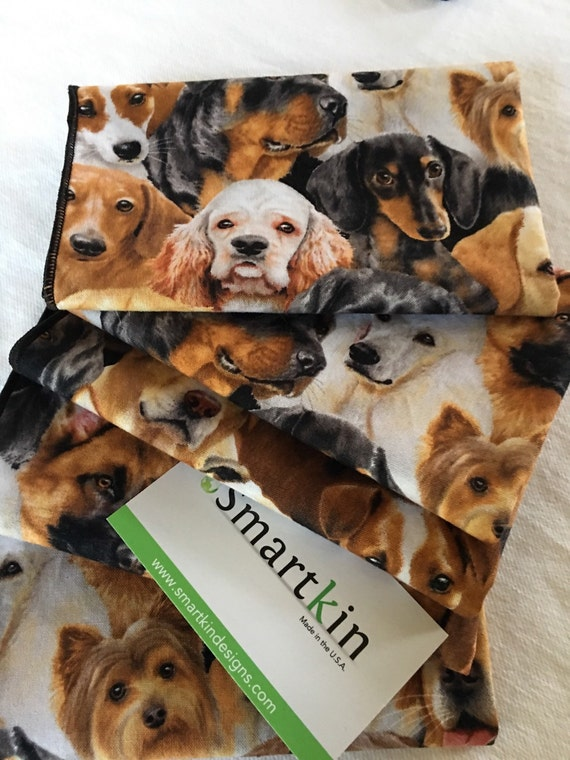 Black and Brown Assortment of Dogs All Cotton Cloth Lunch Box Napkin by Smartkin