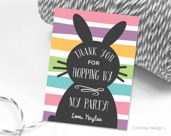 Bunny Favor Tags Printable Bunny Thank You Tags Easter Favor Tags Easter Thank You Tags Bunny Birthday Decor Bunny Stripes Personalized Tags