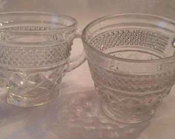 Punch Coffee Tea Cup Anchor Hocking Wexford Pressed Glass Set of 2