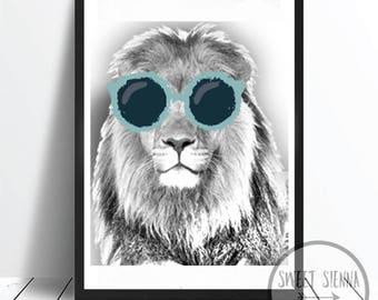 Lion Print, Animal Print, Jungle Print, animal wall print, wall art, monochrome print, wall decor, children wall art - 8x10'