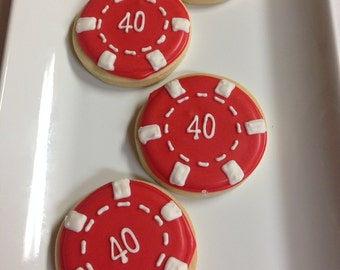 GAMBLING POKER CHIP Decorated Sugar Cookie favors 1 Dozen (12)