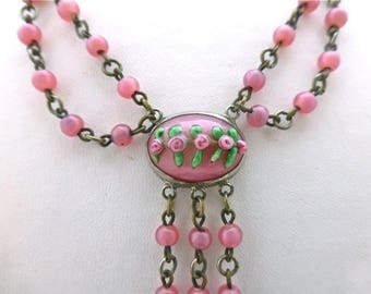 Venetian Pink Glass Swag Necklace
