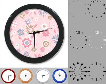 Pastel Floral Wall Clock, Mixed Flower Design, Classic Flowers, Customizable Clock, Round Wall Clock, Your Choice Clock Face or Clock Dial
