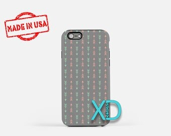 Gray Arrow Phone Case, Gray Arrow iPhone Case, Boho iPhone 7 Case, Green, Pink, Boho iPhone 8 Case, Gray Arrow Tough Case, Clear Case