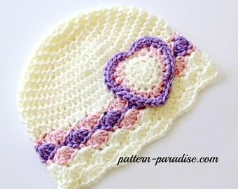 Crochet Pattern Hat Beanie With Love Hat PDF 14-132