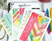 "April CALENDAR PAGES Kit, ""Distressed Look"" April kit fits Erin Condren Life Planners, Monthly Calendar Stickers fits EC Calendars"