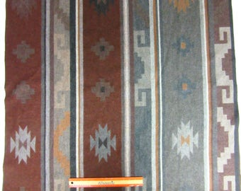 Large Remnant Reversible Blanket Wool from Pendleton Oregon Baby Blanket Lap Throw Ottoman Cover