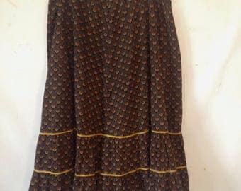 plus size skirt black XXL skirt black ruffled vintage fabric skirt elastic waist skirt plus size fashion 1980s 80s tiered skirt handmade