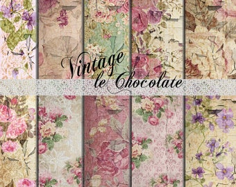 ON SALE Scrapbook Paper, Digital Vintage Paper, Photo Background Paper, Old Wallpaper, Shabby Roses, Grungy Texture Paper. No. P183