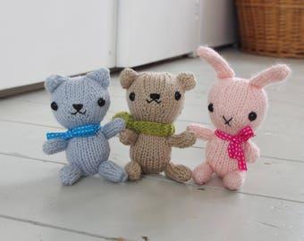 Knitting pattern for amigurumi style bear, cat and bunny rabbit